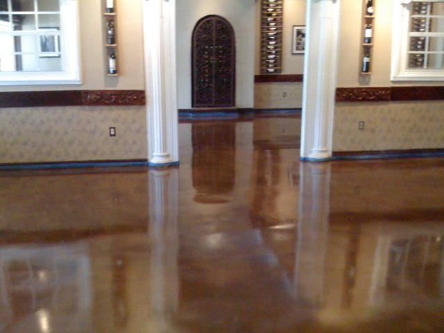 Cost and benefits to polish concrete floors for Buffing stained concrete floors